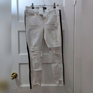White Ripped Jeans with Black Side Stripe